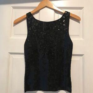 Ann Taylor Vintage Silk Knit Square Sequin Tank XS
